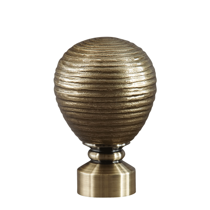 Rowley Company, Contour Striated Ball drapery finial from the AriA™ Artisan collection